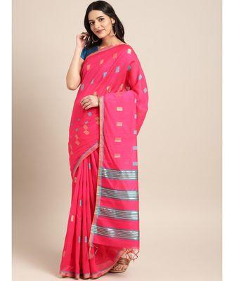 Pink Chanderi Cotton Woven Saree