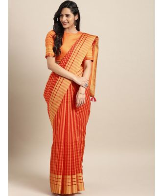 Orange & Pink Cotton Blend Checks Saree