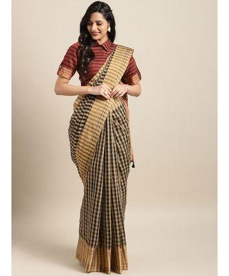 Black & Beige Cotton Blend Checks Saree