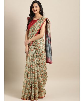 Cream Chanderi Cotton Digital Floral Printed Saree