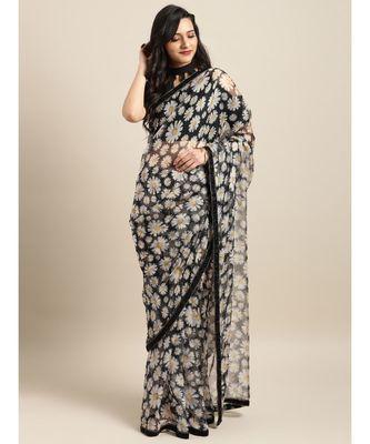 Black & White Organza Digital Floral Print Saree