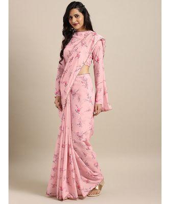Pink Silk Blend Digital Floral Print Saree