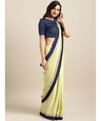 Lime Green Satin Embroidered Lace Bordered Saree