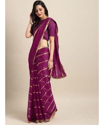 Purple Viscose Chiffon Woven Lace Bordered Saree