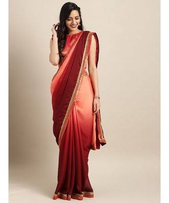 Peach & Maroon Silk Blend Solid Embroidered Lace Bordered Saree