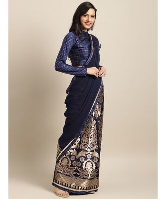 Navy Blue Georgette Woven Saree