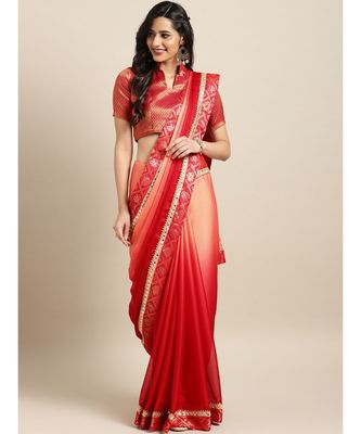 Orange & Red Silk Blend Lace Bordered Saree