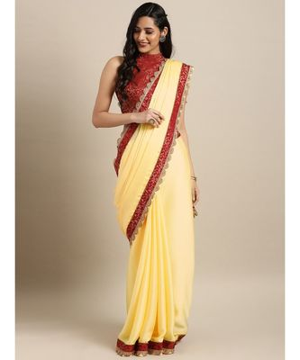 Yellow Satin Embroidered Lace Bordered Saree