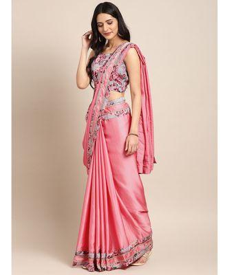 Pink Satin Lace Bordered Saree