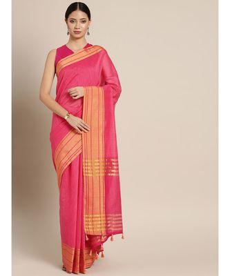 Pink Cotton Blend Checks Saree