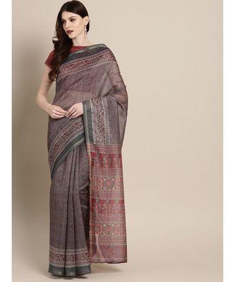 Black & Beige Chanderi Cotton Printed Saree
