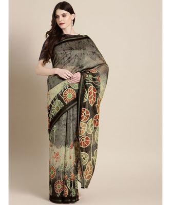 Blue & Maroon Chanderi Cotton Printed Saree