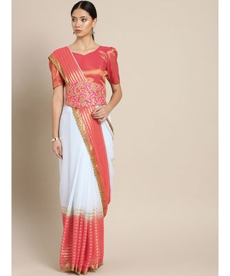 Red & Blue Viscose Georgette Shaded With Embroidered Belt Saree