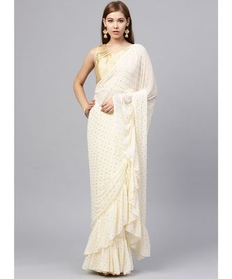 Cream Chiffon Embellished Saree