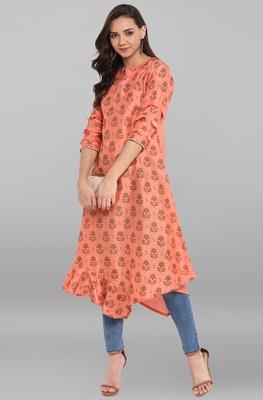 Women's Peach Poly Silk Kurta