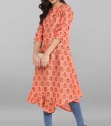 Women's Peach Poly Silk Kurta
