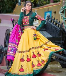 Yellow embroidered cotton unstitched lehenga