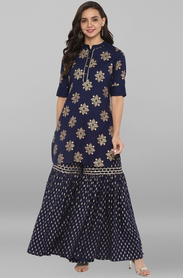 Women's Navy Blue Rayon Kurti With Sharara