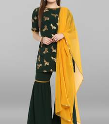 Women's Dark Green Crepe Kurti With Sharara And Dupatta