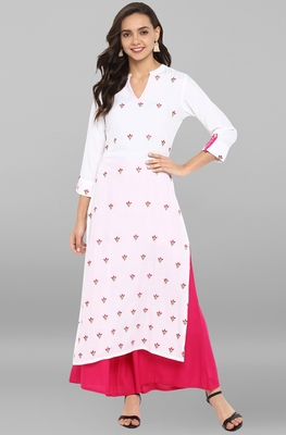 Women's White Rayon Kurta With Palazzo