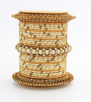 Traditional Thread Bangle Set With Pearl Centre Kada