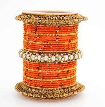 Traditional Thread bangle set with Pearl centre kada