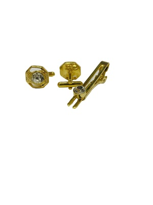 Cufflinks yellow color and white diamond matching tie pin for men