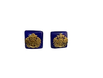 Cufflinks Blue color and matching tie pin for men