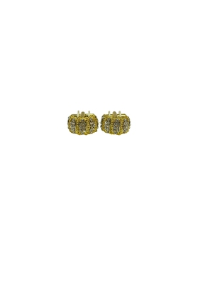 Cufflinks yellow color diamond and matching tie pin for men
