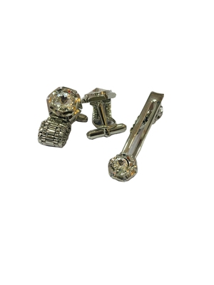 Cufflinks Silver Diamond color and matching tie pin for men