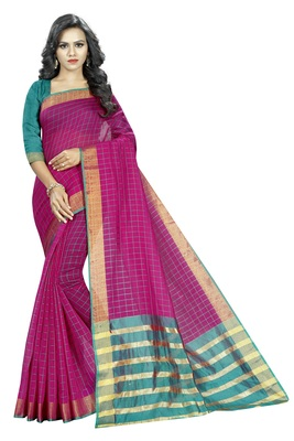Magenta plain cotton silk saree with blouse