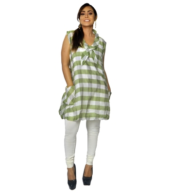 Green woven cotton ethnic-kurtis