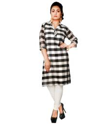 Black woven cotton ethnic-kurtis