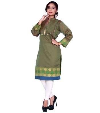 Green woven cotton ethnic-kurtis