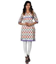 White woven chanderi ethnic-kurtis