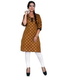 Mustard woven cotton ethnic-kurtis