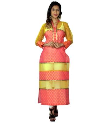 Pink woven cotton ethnic-kurtis