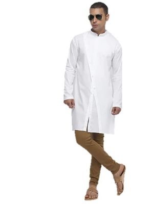 White Plain Cotton Men Kurtas