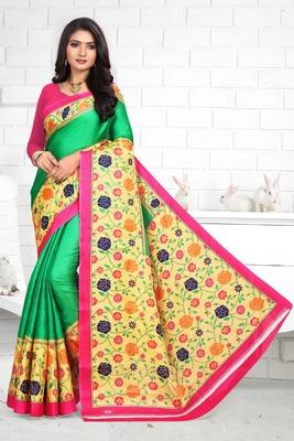 Green printed bhagalpuri saree with blouse