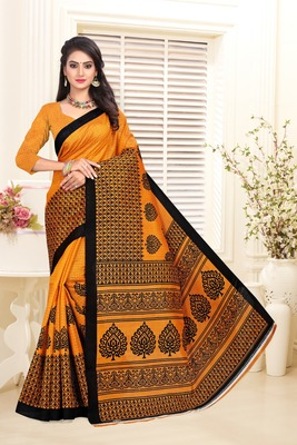 Mustard printed bhagalpuri saree with blouse