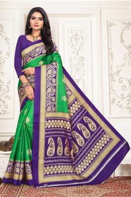 Light green printed bhagalpuri saree with blouse