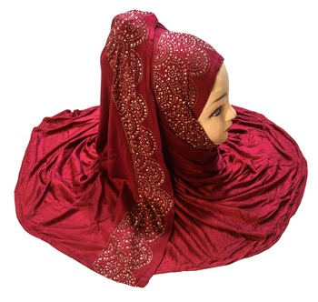 Justkartit Women's Hosiery Soft Cotton 4-Way Diamond Stone Work Hijab Scarf Dupatta