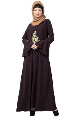 A-Line Purple Nida Abaya With Bell Sleeves