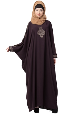 Embroidered Designer Kaftan- Purple