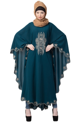Designer Embroidered Kaftan Abaya- Teal Green
