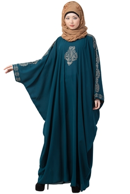 Embroidered Designer Kaftan- Teal Green