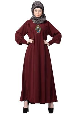 Maroon Embroidered Umbrella cut Nida abaya