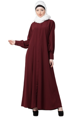 Front open Cardigan abaya- Maroon color