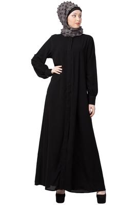 Front open Cardigan abaya- Black