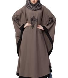 Kaftan Abaya With Black Embroidery Work- Beige